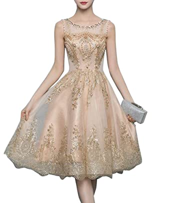 Newdeve Gold Lace Applique Short Homecoming Dresses Lace Edge Yarn Zipper Sleeveless Prom Evening Dresses