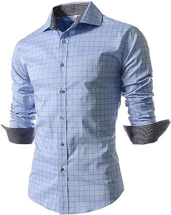 Benibos Camisas de vestir de manga larga para hombre