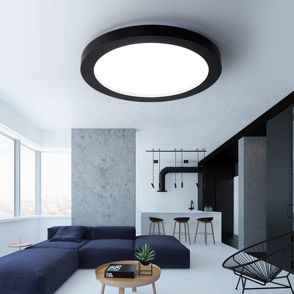 blanc-35cm-warm lumière  Lampe de plafonnier nordique LED simple moderne fer rond pour chambre à coucher étude de salon restaurant corridor balcon salle de bains cuisine blanc-35-lumière chaude