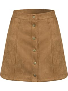 c59a43b7f She + Sky Womens Button Front Corduroy Mini Skirt Light Taupe Large ...