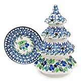 "Polish Pottery Handmade 8"" Christmas Tree Luminary Star Cutouts Traditional Stoneware Pattern 602-Blueberries"