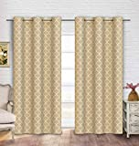 Cheap Contemporary Moroccan Trellis Design Classy Top Grommet Two Panel Window Curtain Linen Ornament Pattern 108″Wx84″L