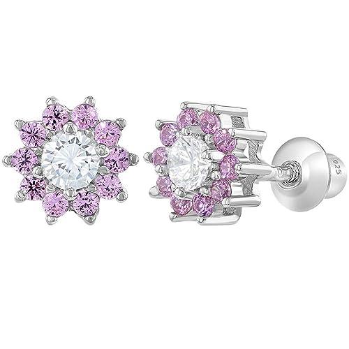 bb57b16f5 Amazon.com: 925 Sterling Silver Pink Clear CZ Screw Back Flower Earrings  for Girls 6mm: Jewelry