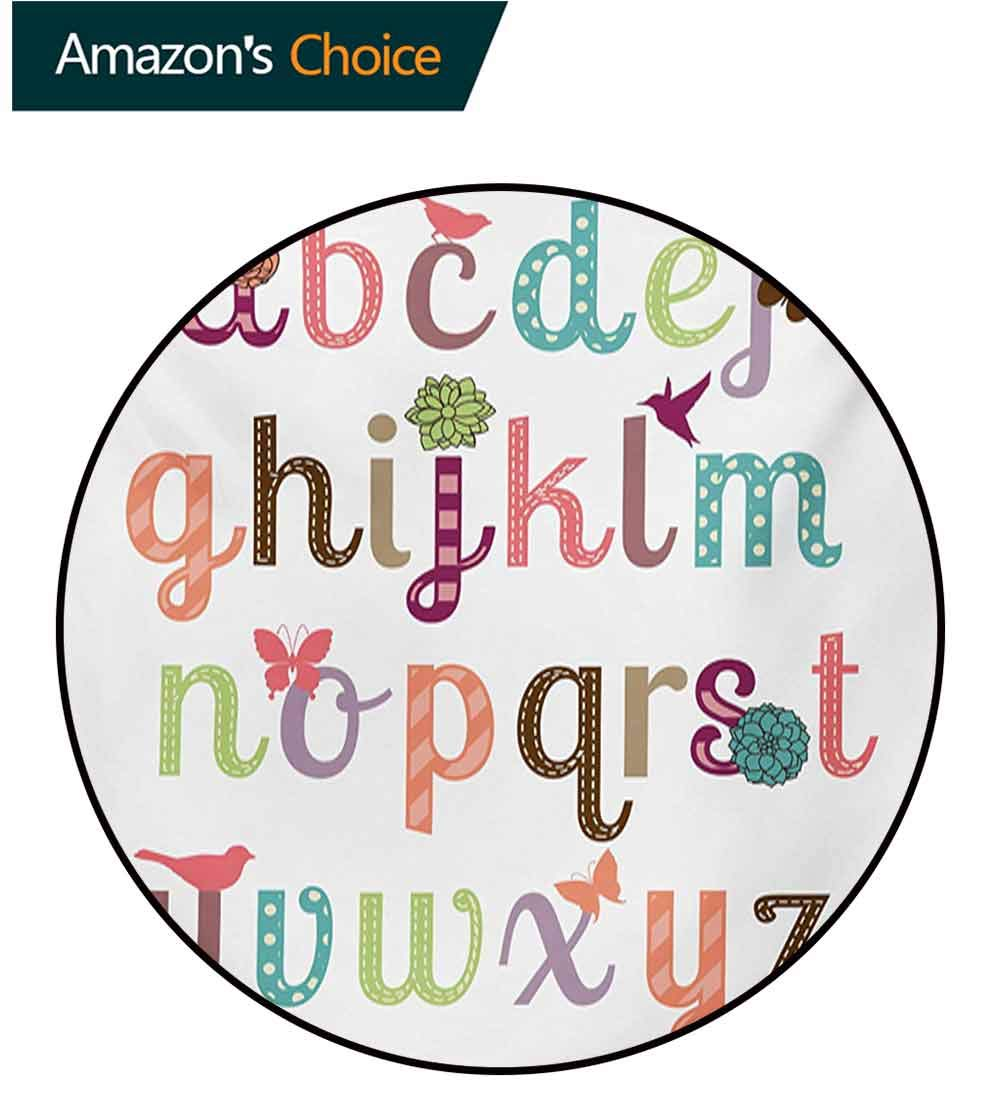 RUGSMAT Letters Dining Room Home Bedroom Carpet Floor Mat,Girly Feminine Typography Set Colorful Letters with Flowers Birds and Butterflies Non Slip Rug,Diameter-71 Inch Multicolor