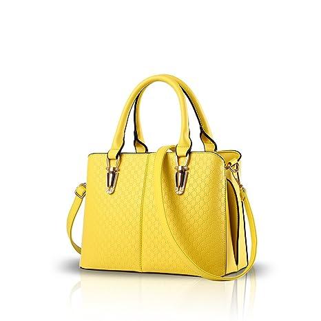 NICOLE & DORIS Donna Borse di moda Borsa a Spalla borse a tracolla di lusso in pelle PU Giallo