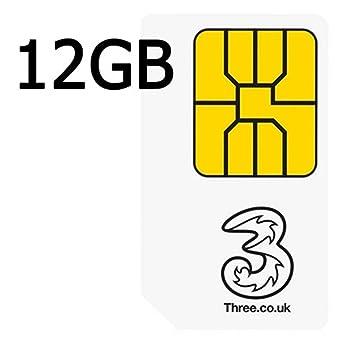 Tres 4 G con 12 GB de datos precargados - Tarjeta SIM de ...
