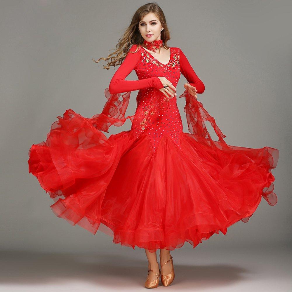 ふるさと納税 現代の女性の大きな振り子の手刺繍タンゴとワルツダンスドレスダンスコンペティションスカート長袖ラインストーンダンスコスチューム Red B07HHX8YZ6 XL|Red XL|Red XL Red XL, お買い得アクセサリーMOAR:efb94dcc --- a0267596.xsph.ru