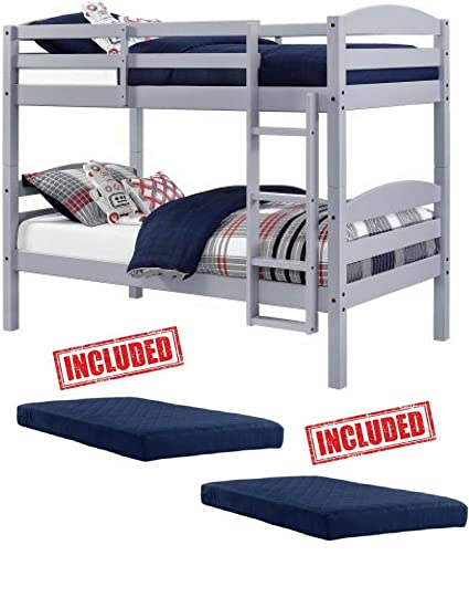 Amazon Com Mainstays Twin Over Twin Wood Bunk Bed In Gray Finish