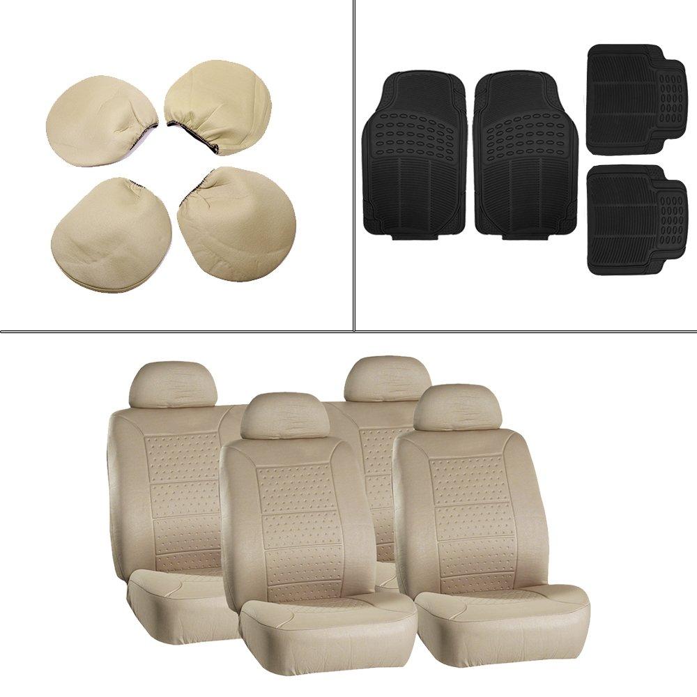 Scitoo 12-PCS Front Rear Car Floor Mats Beige Car Seat Cover for Heavy Duty Vans Trucks