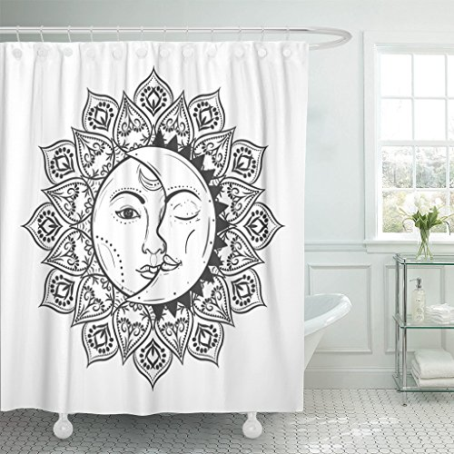 r Curtain Curtains with Hooks Mandala Sun Eclipse Concept Illlustration of Astronomy and Astrology Symbol Vintage Boho Gypsy Style Moon 60