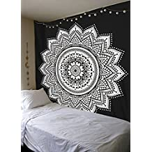 Black-And-White mandala Mandala-Wall-Hanging-Art Queen-Size-Tapestry