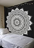 Labhanshi Black White Mandala Tapestry , Indian Hippie Wall Hanging , Bohemian Twin Wall Hanging, Bedspread Beach Tapestry 54x78 inch