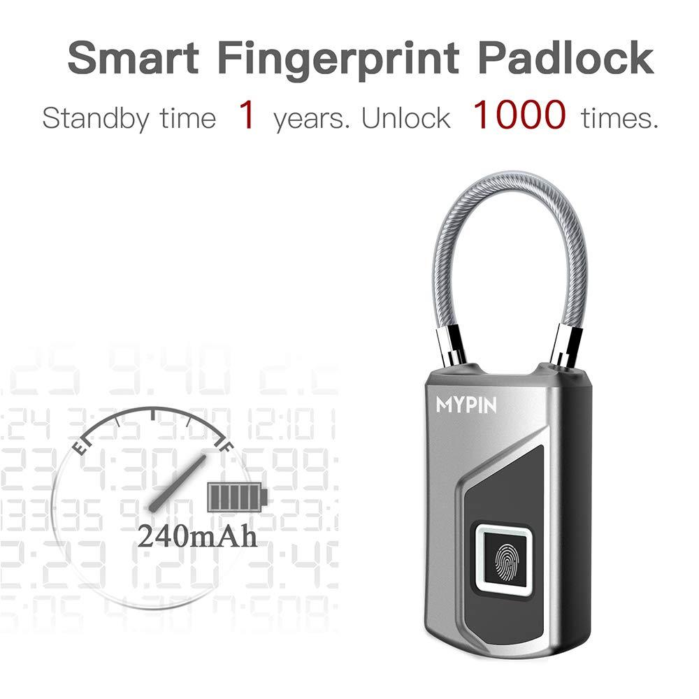 Bike Office Fingerprint Padlock,Smart Waterproof Fingerprint Lock Ideal for Gym Backpack Luggage Suitcase Door