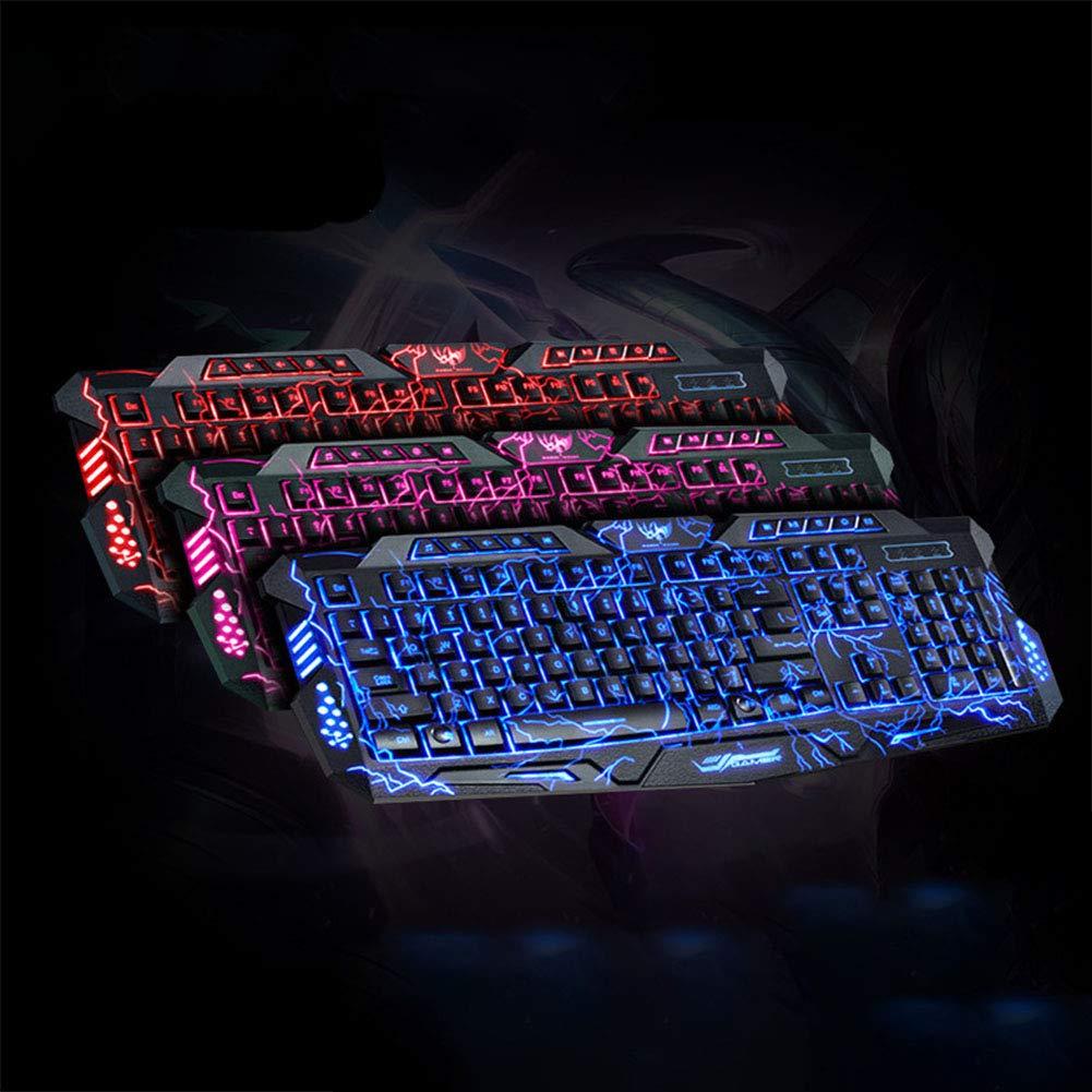 Amazon.com: elegantstunning Tri-Color Backlit Computer Gaming Keyboard Teclado USB Powered Game Keyboard for Desktop Laptop tri-Color Backlit Keyboard: ...