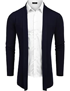 Lamore Mens Cardigan Shawl Collar Long Sleeve Designer Open Front Knit Sweater