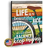 Marla Rae 'Life is A Beautiful Ride' Chic Bicycle Country Wall Art Plaque - Rustic Farmhouse Decor for Home - Famous…