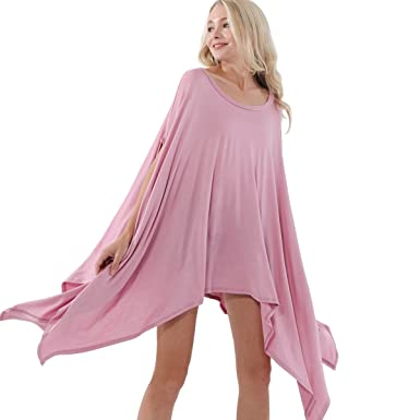 813b1007064 Preppy Doll Made in USA Women's Sexy Loose Bat Wing Dolman Poncho Tunic  Sleeveless Dress Top (Mauve) at Amazon Women's Clothing store: