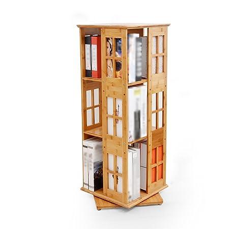 WSSF Bamboo Swivel Bookshelf 360 Rotating Bookcase Floor Standing Childrens Divider Bookrack Home Office