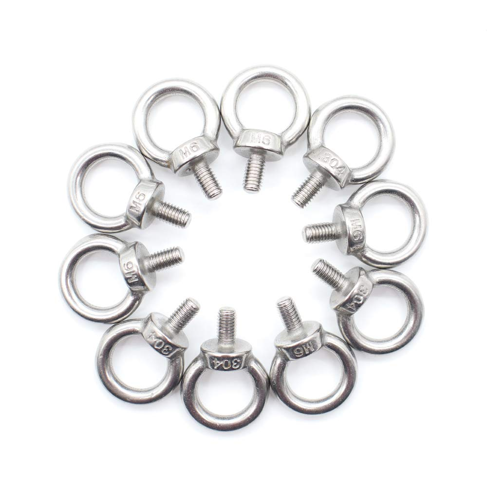 SamIdea 5PCS M5 304 Stainless Steel Machinery Shoulder Lifting Ring Eye Bolt with Male Thread