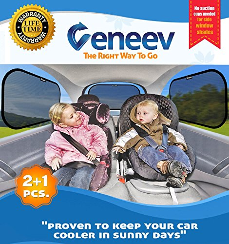 Car Sun Shade for Side and Rear Window (3 Pack) - Car Sunshade Protector - Protect your kids and pets in the back seat from sun glare and heat. Blocks over 97% of harmful UV Rays - Easy to Install (Sun Shade Cling)