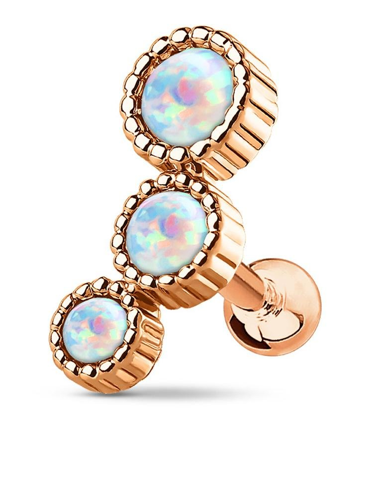 16g Rose Gold IP Plated Surgical Steel Triple Round White Opalite Cartilage Stud Earring