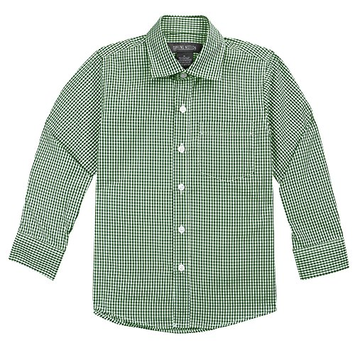 7 Up Green (Spring Notion Big Boys' Long Sleeve Gingham Shirt 7 Forest Green)