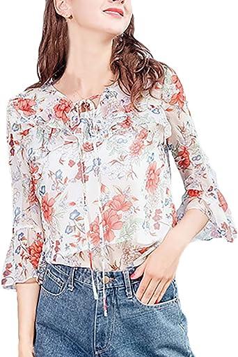 Camisa Mujer Elegante Vintage Floreadas Blusas V-Cuello Otoño Manga Larga Chiffon Informales Negocios Anchas Camisas Tops Camisas Señoras: Amazon.es: Ropa y accesorios