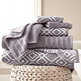 OV 6 Piece Grey Floral Towel Set, Gray French Country Jacquard Motif Chic Flower Theme Towels, Flowers Vines Leaf Pattern Soft Cozy Absorbent Wash Cloth Bath Solid Color Reversible Bathroom, Cotton