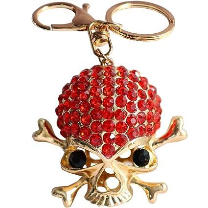 Bolbove Rhinestones Cool Skull Keychain Sparkling Crystal Backpack Keyring  Purse Pendant Handbag Charm (Red)
