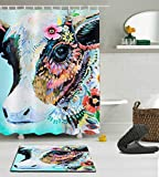 LB Colorful Animal Cow Shower Curtain Set Polyester Fabric 3D Digital Printing 60x72 Mildew Resistant Waterproof Colorful India Temple Cow Bathroom Bath Curtain Liner Bath Mat