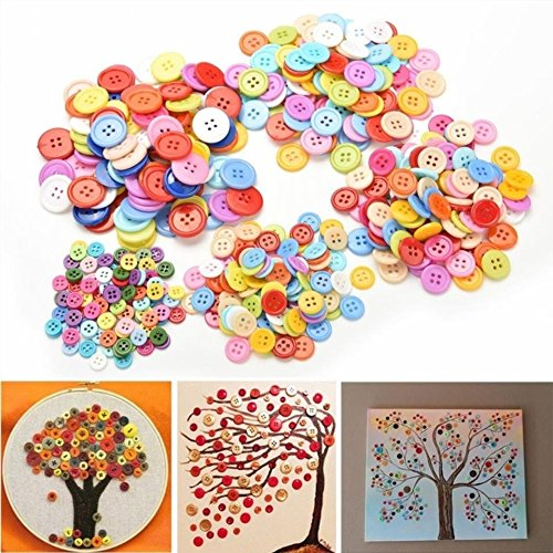 Fengge Kids Colorful Plastic Round Buttons sewing DIY Craft Decals (13mm)