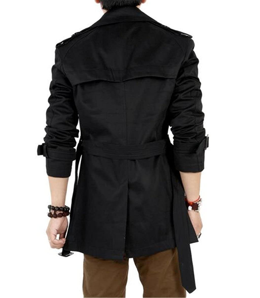 8db87e81d9 GESELLIE Men's Slim Double Breasted Trench Coat Belted Long Jacket Overcoat  Outwear at Amazon Men's Clothing store: