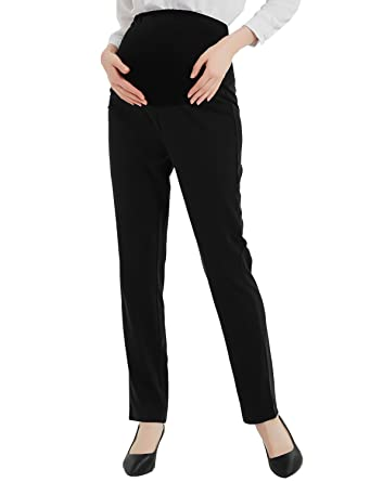 5bf22fbfce4 Maternity Dress Pants Flattering Work Long Pants Stretch Slim Fitted  Trousers Black S