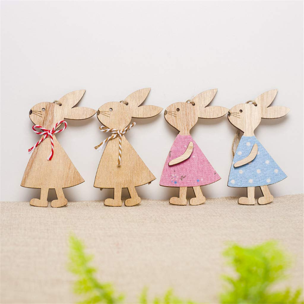 Celendi Easter Gift 4PCS Easter Day Bunny Exquisite Premium Wooden Pendant Hanging Decoration