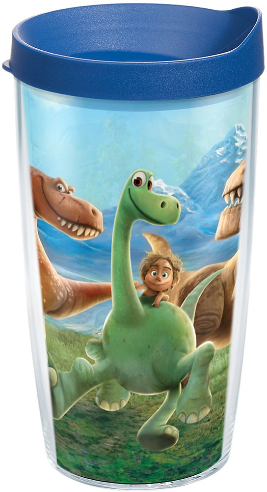Tervis 1175305 Disney/Pixar - The Good Dinosaur: Dino Adventure Tumbler with Wrap and Blue Lid 16oz, Clear