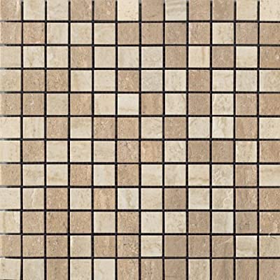 Samson 1043734 Travertini Polished 1X1 Mosaic Floor and Wall Tile, 12X12-Inch, Noce/Cream, 1-Piece