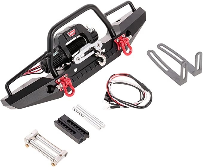 Metal Front Bumper LED Lamp Winch Controller Tool Kit for RC TRAXXAS TRX-4 Car