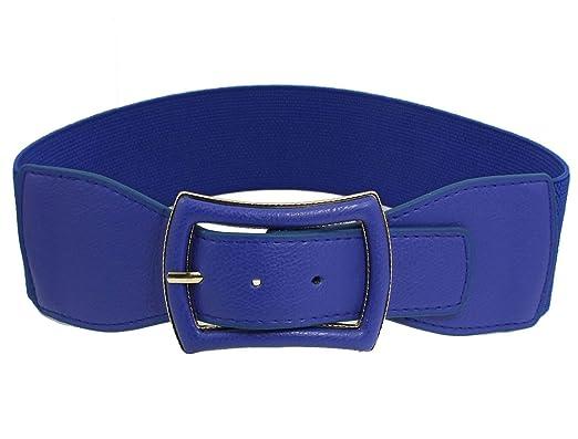 56f7a8522 sourcingmap Woman Faux Leather Single Pin Buckle Elastic Waist Belt Cinch  Blue