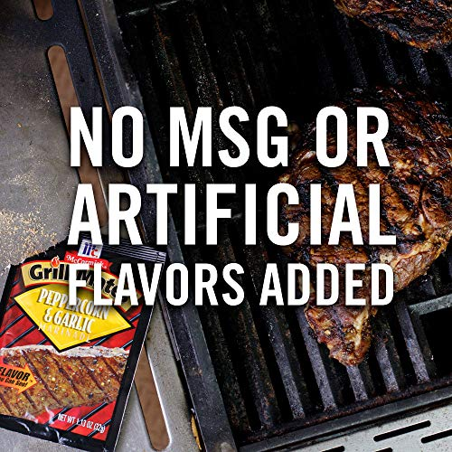 McCormick Grill Mates Peppercorn & Garlic Marinade Mix (Intense Grilling Seasoning Features Spicy Blend of Cracked Black Peppercorns, Garlic and Onion, For Steak, Beef, Pork or Lamb), 1.13 oz