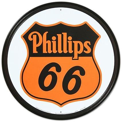 Amazon Phillips 66 Shield Logo Gasoline Round Tin Sign 12 X