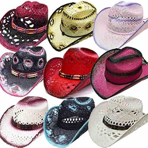 c83fb23163c2e0 Modestone 24 Pcs Top Selling Pack Women's Straw Cowboy Hats Asst.  Sizes/Colors