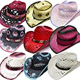 Modestone 24 Pcs Top Selling Pack Women's Straw Cowboy Hats Asst. Sizes/Colors
