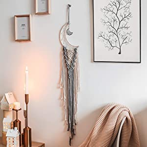 JOXJOZ Moon Macrame Wall Hanging Feather Dream Catches-Boho Tapestry Cotton Woven Home Decor Handmade Decoration for Kids Room Party Wedding Ornament Craft Gift (Beige&Grey)