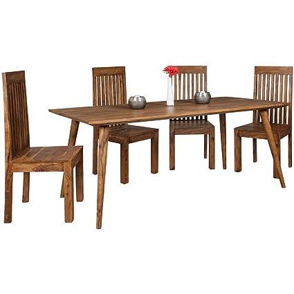 Mesa de comedor Repa 180 x 80 x 76 cm Sheesham maciza rústico de ...