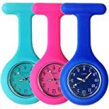 Nurse Watch Brooch, Silicone with Pin/Clip, Glow Pointer in Dark, Infection Control Design, Health Care Nurse Doctor Paramedic Medical Brooch Fob Watch