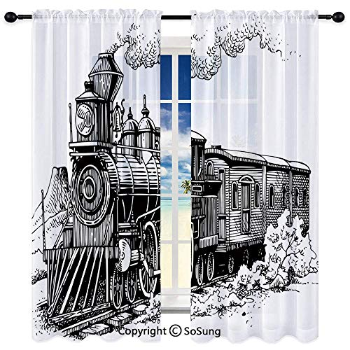 Exclusive Home Curtains Indoor/Outdoor 2 Panel Pair,Rustic Old Train in Country Locomotive Wooden Wagons Rail Road with Smoke 72