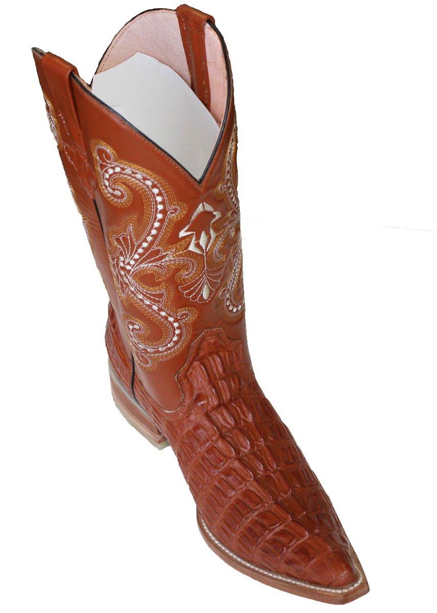 Dona Michi Cowboy Boot's Leather Crocodile Back Cut Cowboy Handmade Luxury Boots_Cognac_8