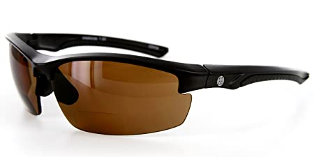 Creekside Bifocal Sunglasses with Wrap-Around Sport Design and High-Quality Polarized Lenses for Youthful and Active Men Black Amber 2.50