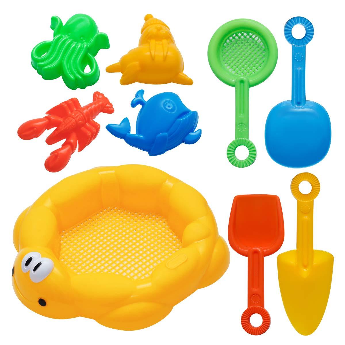 Holady 9 Pcs Piece Beach Toys Sand Toys Set Sand Toys Set
