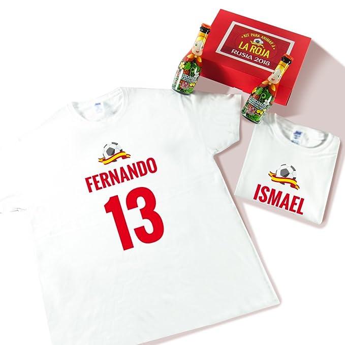 918d5b381 Calledelregalo Pack Dos Camisetas Personalizadas con Nombre y Número +  Cerveza para Disfrutar del Mundial (